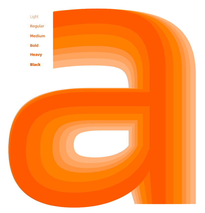 "Alibaba Sans' lowercase ""a"" features characteristics such as a shortened arc and an extended curve of the bowl, creating an energetic and friendly effect that makes the font distinctly ""Alibaba,"" the company said."